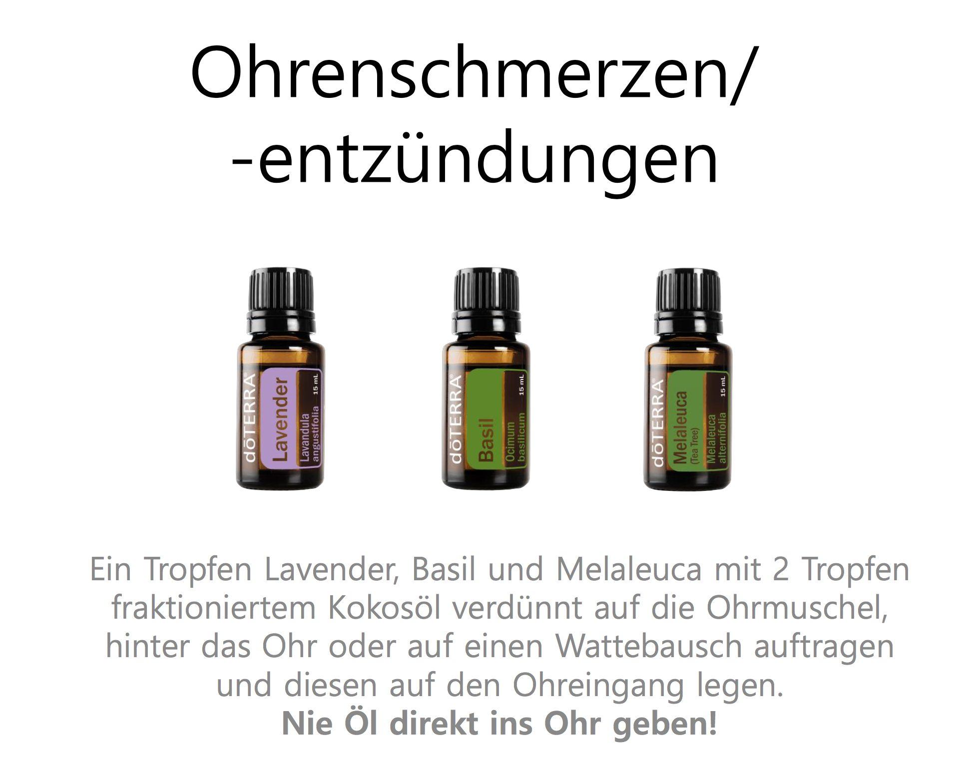 Öle gegen Ohrenschmerzen
